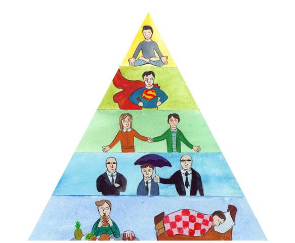 Попробуйте найти в интернете иллюстрацию к пирамиде Маслоу! Своя лучше.